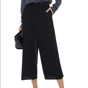 Vince Cropped Pleated Crepe Wide Leg Pants